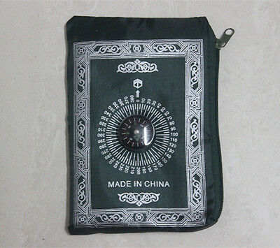 Portable Poly Prayer Rug Mat Muslim Eid Gift with Compass Attached Dark Green