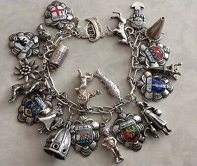 24 Vintage Sterling Silver Large Travel Shields Charms Bracelet Chariot