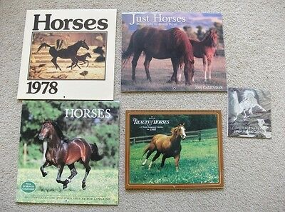 Horse Calendars - Set Of 5 - 1978,1982,1990,2001,2004 - Beautifully Illustrated!