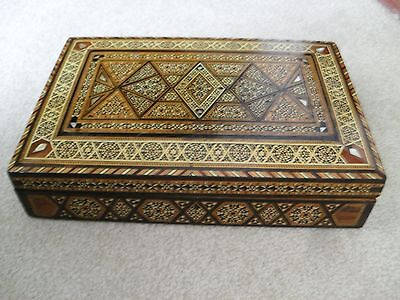 Rare Large Antique Persian Khatam Box With Mother Of Pearl.qajar Dynasty Art