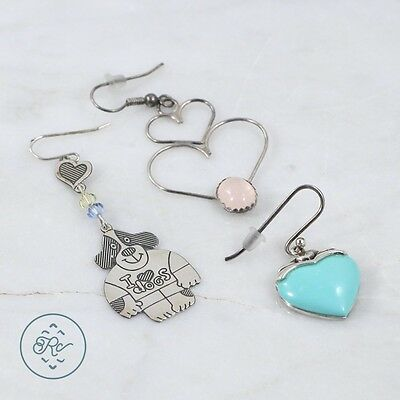 Sterling Silver | (QTY 3) Assorted Heart Earrings Turquoise 8.4g | Lot NA3843