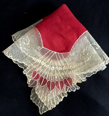 Beautiful Red Vintage Valentine Hanky With Net Lace