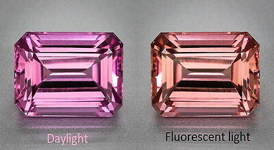 Mahenge Garnet - Rare - Hot Pink to Peach Change - 2.18 Carat - Emerald Cut