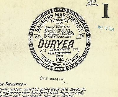 Duryea, Pennsylvania~Sanborn Map©~sheets made in 1914 with 16 maps in full color
