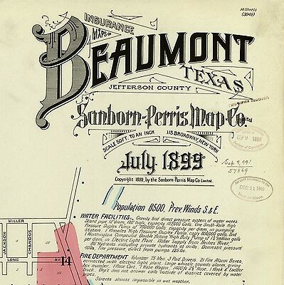 Beaumont, Texas~Sanborn Map© sheets~ all 185 maps on CD in ful color