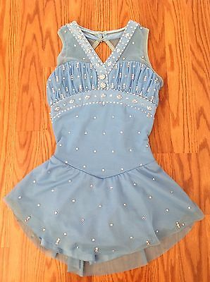 Girl's Del Arbour Figure Ice Skating Dance Competition Dress blue crystals 8-10