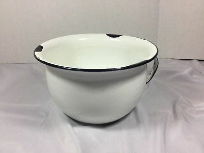 White Enamelware Chamber Pot With Handle