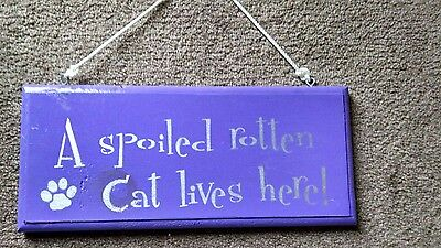 Spoiled Rotten Cat Novelty Wood Plaque