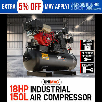 NEW UNIMAC Industrial Air Compressor 150L Receiver Petrol Driven Tri-V Piston