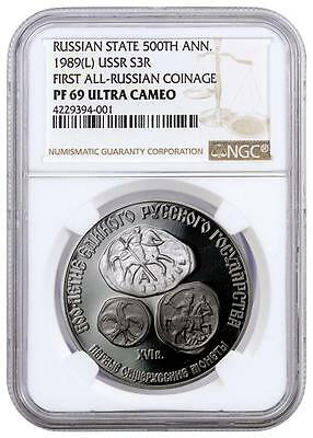 1989 USSR Silver 3 Rubles - 500th Anniv All-Russian Coinage - PF69 UC - NGC Coin