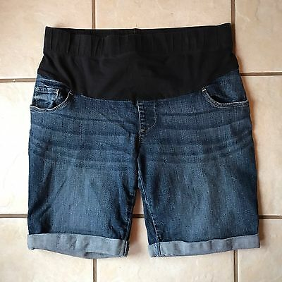 Pre-Owned Oh Baby Motherhood Denim Rolled Cuff Cotton Stretch Maternity Shorts M