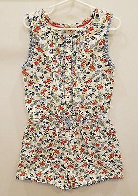Mini Boden kids girls white floral romper one piece size 7 8 years shorts shirt