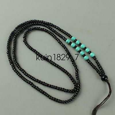 Chinese Obsidian hand woven pendant necklace LJQQ113