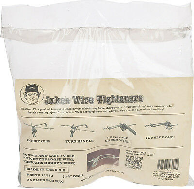 "Jakes Wire Tighteners - Bag of 20 1/4"" Clips  Fix Fence - Fast Easy! Made in USA"