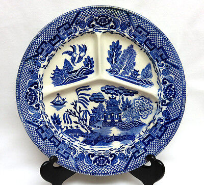 """Vintage Occupied Japan Blue Willow Divided Restaurant Ware Pottery Plate 10 1/8"""""""