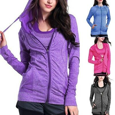 Women Long Sleeve Zip Hoodie Fitness Gym Yoga Quick Dry Track Fit Jacket Outfits