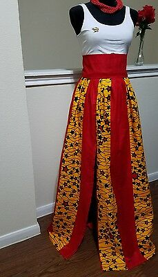 Genuine African print custom made maxi skirt. High waist with front slit