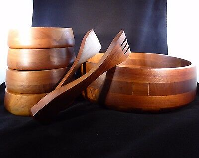 SOLID WALNUT WOOD  SERVING BOWL + TONGS + 4 SALAD BOWLS by VERMILLION