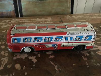 VINTAGE JAPAN TIN TOY FRICTION  BUS -'Indian Lines' RARE - ALL WORKING - BUY NOW