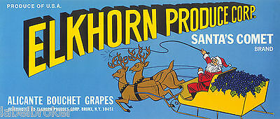 Grape Crate Label Original Vintage Santa Claus & Sled Advertising Bronx Ny & Ca