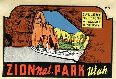 Vintage Zion National Park Utah Gallery Souvenir State Auto Luggage Travel Decal