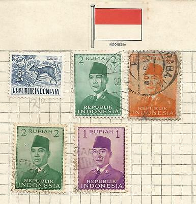 INDONESIA;  lot of 5 stamps