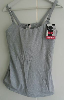 Hotmilk Nursing Maternity Camisole Cotton Breastfeeding Top Grey Bra M F-H