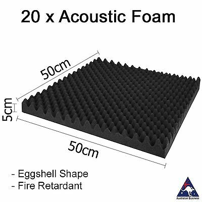 Acoustic Foam x20 Sound Studio absorption proofing panel tile treatment 50x50cm