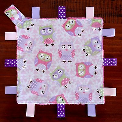 Pink Owl Mini Size Taggie Security Blanket Toy comforter dummy clip holder