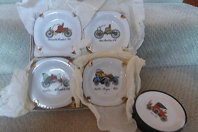 Retro: Bar –Aust Bessemer, Vintage Cars Coasters Set + Mib Set 4 Dishes Vint Car