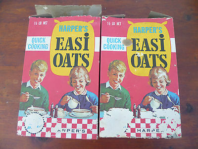 2 x Vintage Harpers Easi Oats boxes, Harper's Victoria. c.1960's