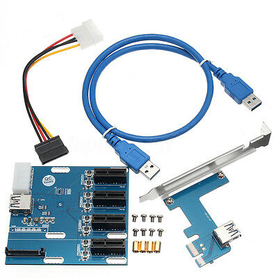 PCI-E 1X Expansion Kit 1 to 4 Ports Switch Multiplier Hub Riser Card USB 3 Cable
