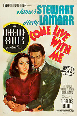 Come Live With Me James Stewart Vinatge Movie Poster One Sheet