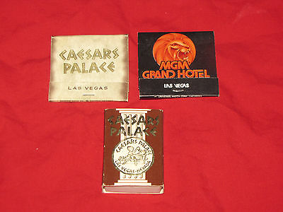 Caesar's Palace and MGM Grand Hotel matchbooks, box from 1980s
