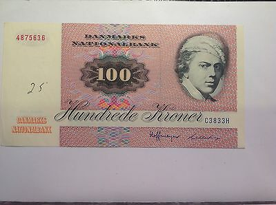 Denmark Prefix C 1978-79 100 Kroner About UNC Has 25 Written on it