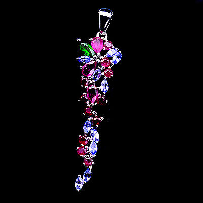 Gracefully! Natural! Red Ruby, Tanzanite & Diopside Sterling 925 Silver Pendant
