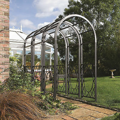 Arch Garden Climbing Trellis Plants New Roses Support Archway Powder Coat Grey