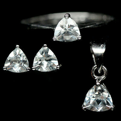 Supreme! Natural! White Topaz Sterling 925 Silver Set White Gold Plated Size6.75