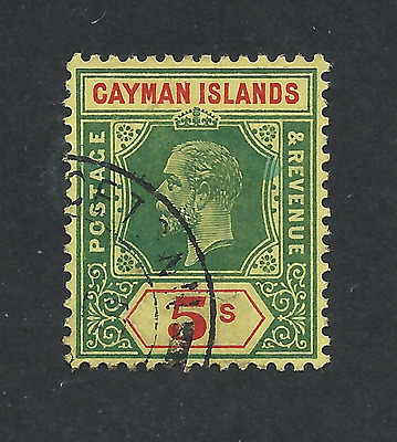 CAYMAN IS 1912-20 5s GREEN & RED/YELLOW FU SG 51 CAT £170
