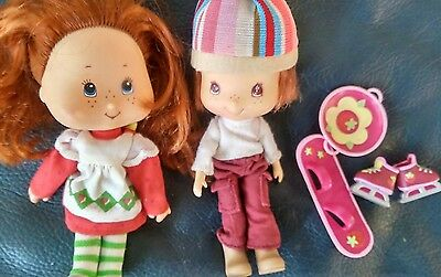 "2 Small 6"" Dolls and pencil case  Strawberry Shortcake"