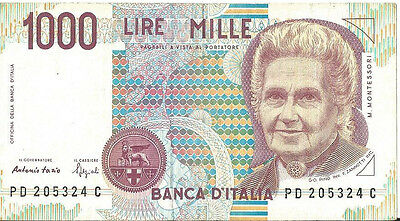 Italy 1000 Lire Banknote 1990