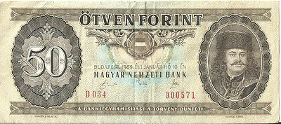 HUNGARY 50 FORINT Banknote 1989