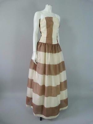 Gorgeous original 1950s striped chiffon evening dress - UK 10