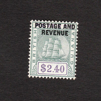 British Guiana 1905 Top Value $2.40 Postage And Revenue Stamp S.g. 251 Mint