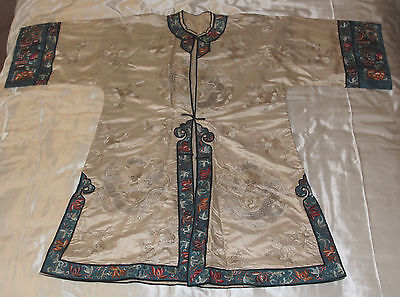 Antique Silk Chinese robe gown, embroidered dragons, fine oriental motif borders