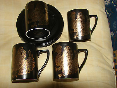 Portmeirion Phoenix - Four Coffee Cans And Saucers