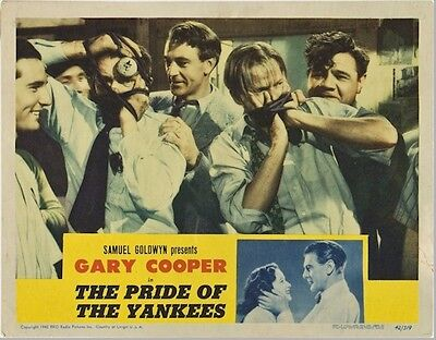 PRIDE OF THE YANKEES, 1942 GARY COOPER LOBBY CARD Movie Poster with BABE RUTH