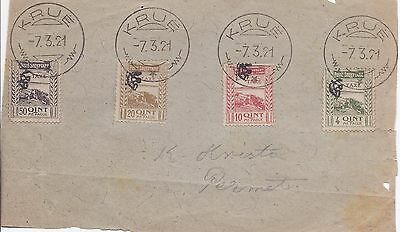 Albania 1920 Postage Due set of 4 used on piece with Krue cancels