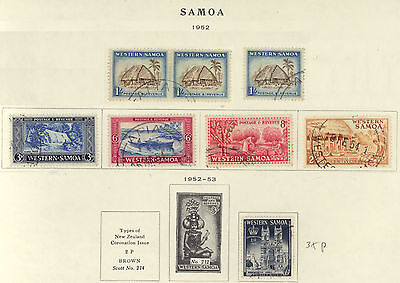 Samoa 1952 -53 Early Issue Collections Lot - USED