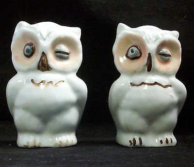 Vintage Blue Eye Winking Owl Salt and Pepper Shakers Shawnee Pottery